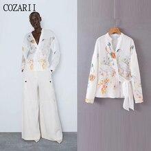 COZARII blusas mujer de moda 2019 summer women casual style cartoon sashes mandarin collar kimono blouse womens tops and blouses