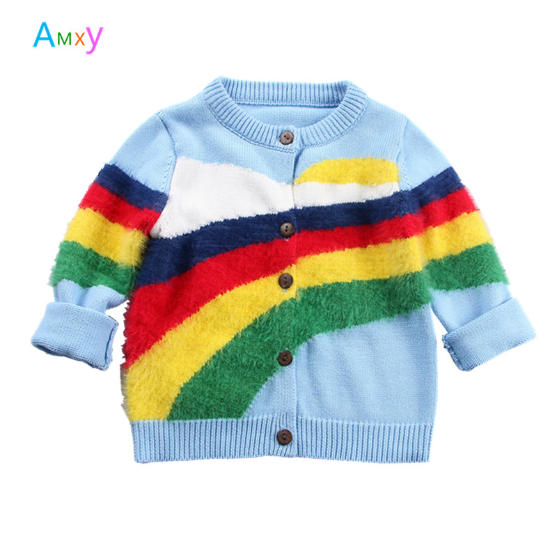 1-6Y 2018 Unisex Baby 3D Rainbow Striped O-Neck Knitted Cardigan Jacket Girls Clothes Kids Sweater Coat Spring Jumper Tops