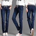 Зима Теплая толстый бархат узкие джинсы Брюки для женщин Плюс размер Синий демин брюки Тощий ladies брюки Pantalon Femme MZ939