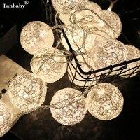 Tanbaby 10 PCS Couleur Dentelle Coton Boules LED Chaîne Lumière Blanc Chaud 6 CM Trèfle Boule Guirlande lumineuse Pour Noël Nouvel An Luces Déco