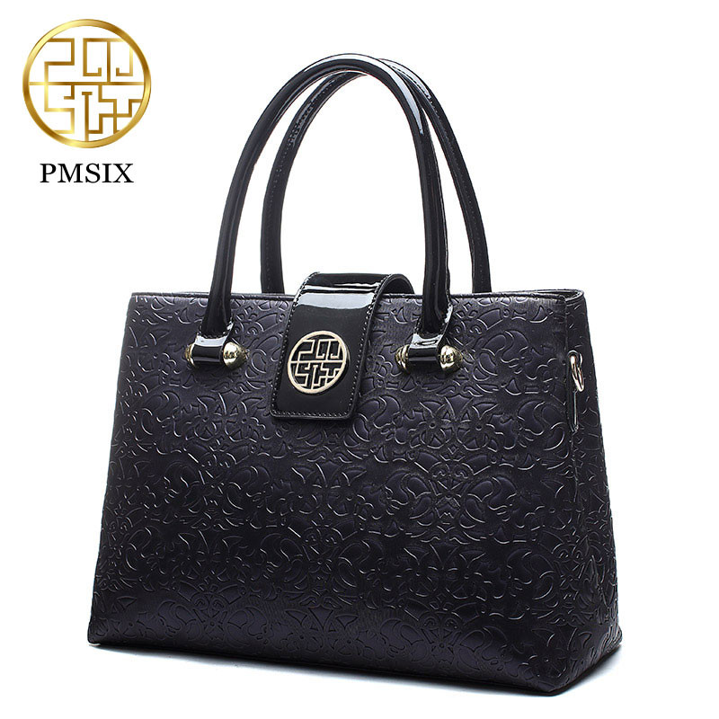 Pmsix 2018 luxury Summer Embossed Leather Casual Tote red Bag for women Realer PU Patent Leather Shoulder Bags female handbag embossed pu leather casual 3 pieces tote bag set