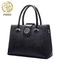 Pmsix 2018 luxury Summer Embossed Leather Casual Tote red Bag for women Realer PU Patent Leather Shoulder Bags female handbag