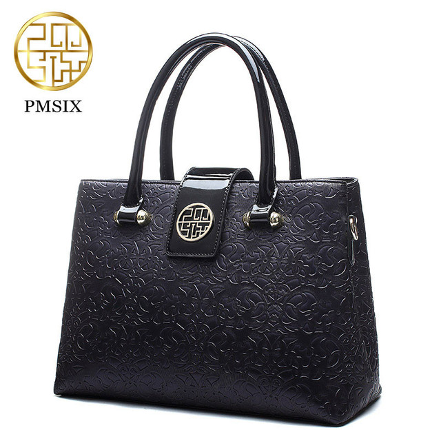 Pmsix 2019 luxury  Summer Embossed Leather Casual Tote red Bag for women Realer PU Patent Leather Shoulder Bags female handbag