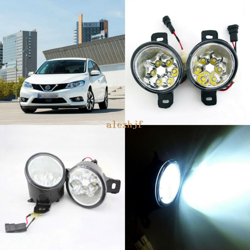 July King 18W 6LEDs H11 LED Fog Lamp Assembly Case for Nissan Pulsar 2014~ON,  6500K 1260LM LED Daytime Running Lights july king 18w 6leds h11 led fog lamp assembly case for nissan versa 2012 on 6500k 1260lm led daytime running lights