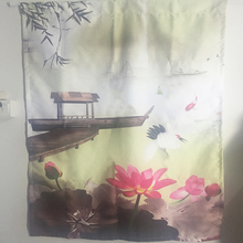Chinese style lotus flower Japanese door curtains for kitchen room home decoration short kitchen curtains styles