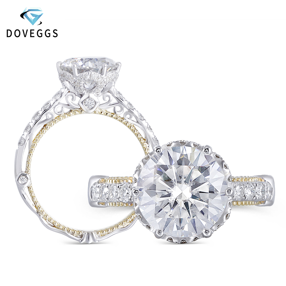 DovEggs Luxury Vintage 14K 585 White and Yellow Gold Center 2ct 8mm H I Color Moissanite Engagement Ring for Women Wedding-in Rings from Jewelry & Accessories    1