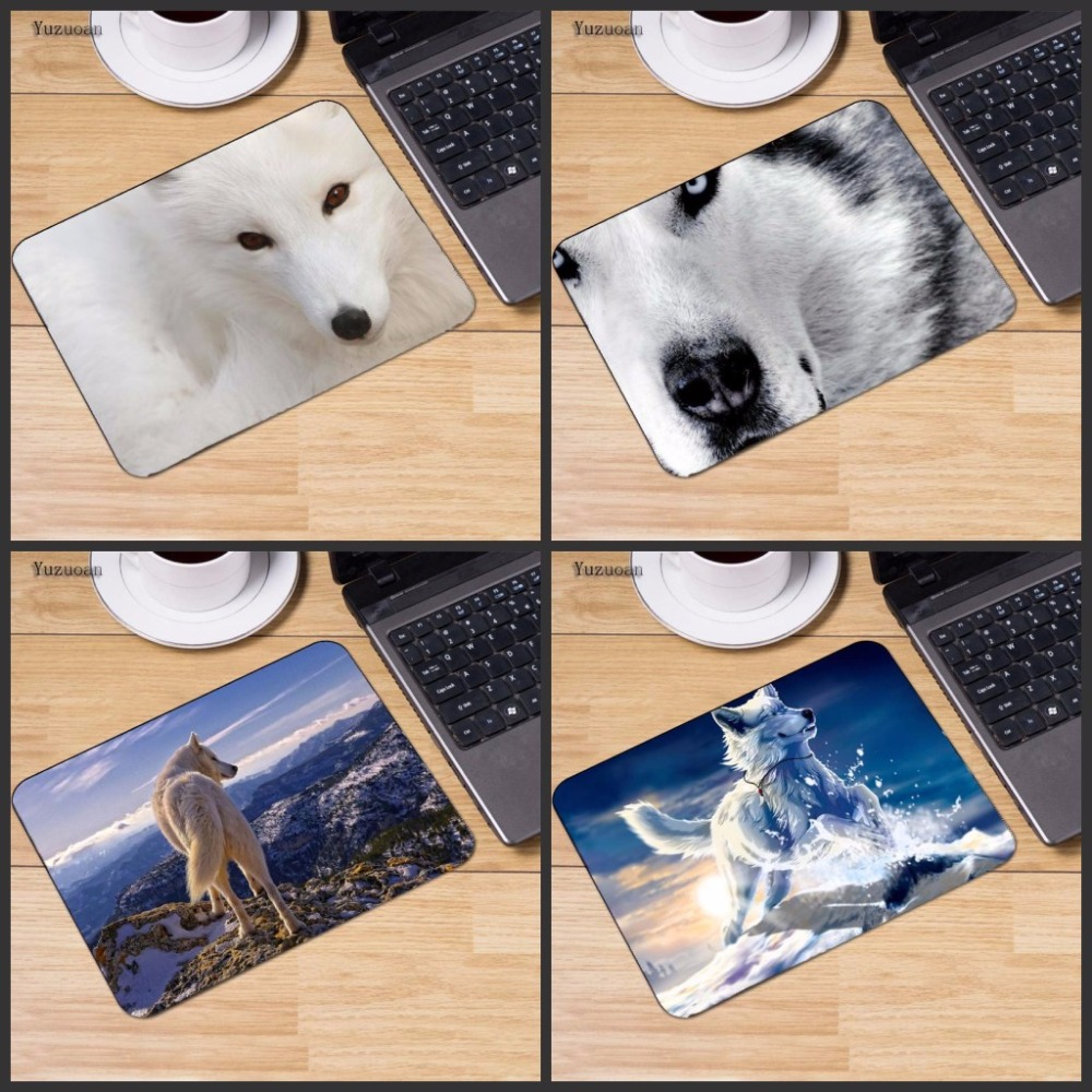 Yuzuoan  New Funny White Wolf  Animal Mouse Mat  Pad To Mouse Notebook Computer Mousepad Boy Gift Gaming Optical Mouse Pad