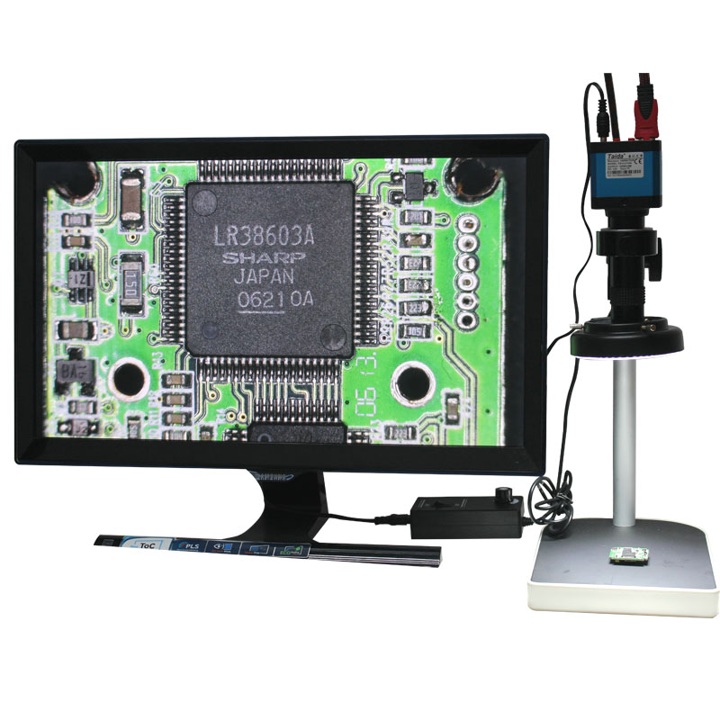 14MP HDMI Microscope Camera For Industry Lab PCB USB Output TF Card Video Recorder + C-mount Lens + 144LED Light + Stand 14mp hdmi usb digital industry video microscope camera set big stand universal bracket 300x c mount lens 8 inch lcd monitor