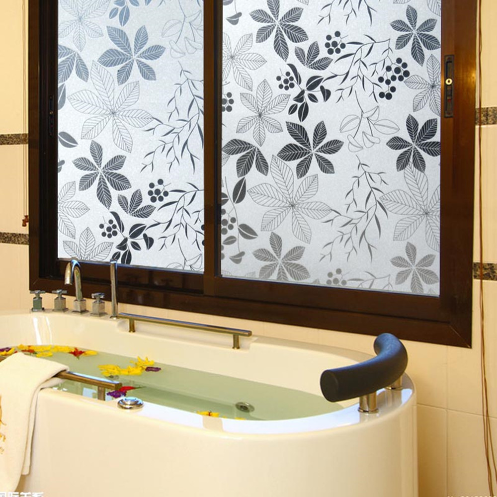 Leaf pattern decorative window film for glass PVC privacy frosted without glue self-adhesive glass stickers for Home Decor
