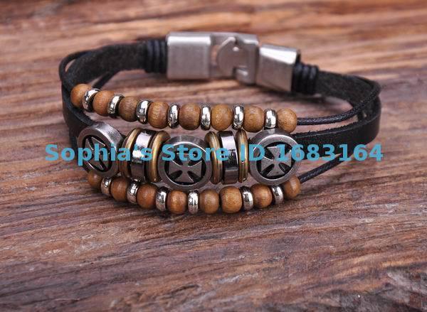 G134 Black Wood Beads Amp Cross Metal Clasp Hemp Leather