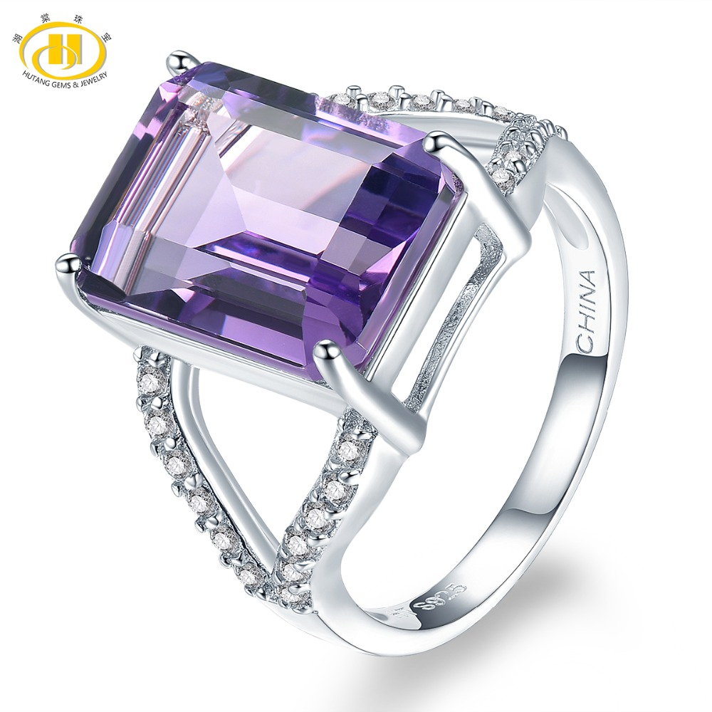 Hutang Stone Jewelry Natural Gemstone Amethyst Topaz Ring Solid 925 Sterling Silver Fine Fashion Jewelry For Women Man Gift New hutang engagement ring natural gemstone amethyst topaz solid 925 sterling silver heart fine fashion stone jewelry for gift new