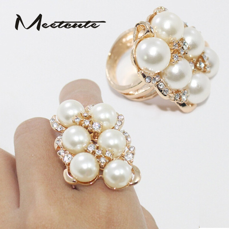 Meetcute Ladies Chic Fashion Charm Elegant Rhinestone Simulated-pearl Golden Finger Ring 18mm Yellow White Stone Size 8 For Gift
