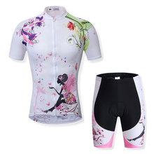 New Arrival Women Cycling Jersey Flower Printing Cycling Cloths MTB Ropa Ciclismo Bike Cycling Clothing Set Outdoor Sportswear