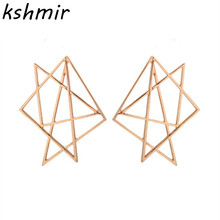 2018 irregular geometry stud earrings Europe and the contracted hollow-out wholesale