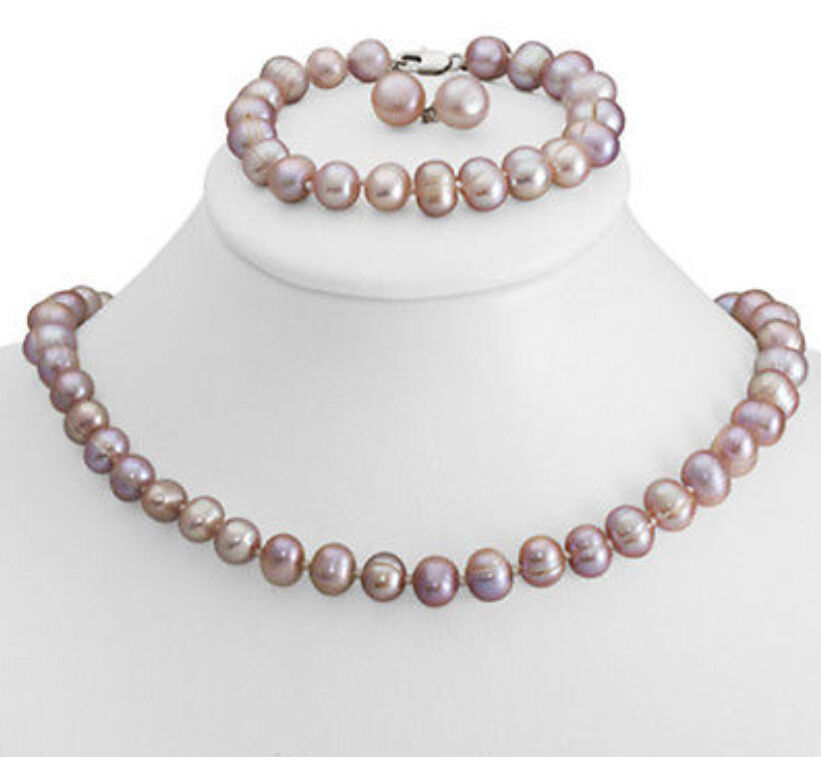 New 8-9mm Purple Freshwater Cultured Pearl Necklace Bracelet & Earrings SetNew 8-9mm Purple Freshwater Cultured Pearl Necklace Bracelet & Earrings Set