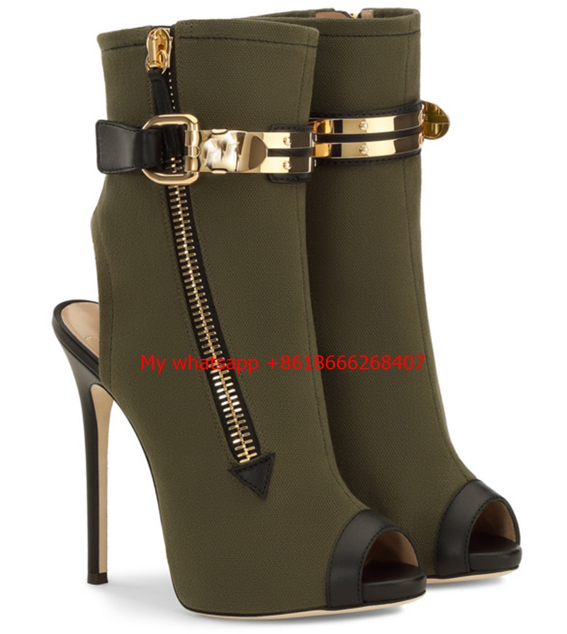 Army Green Gold Buckle Side Zipper High Heel Ankle Boots Women Open toe Fashion Gladiator Sandal Boot Womans gullick beige suede fringed high heel ankle boots open toe lace up ankle boots fashion tassel gladiator sandal boot womans