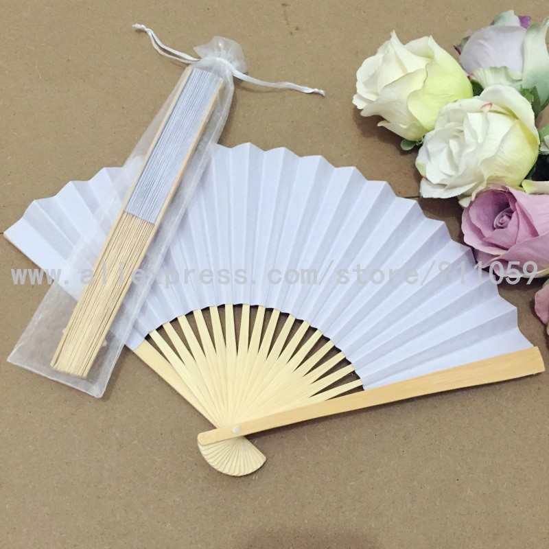 Free shipping 12pcs/lot White paper hand fan ladies hand fan for wedding with white organza bag