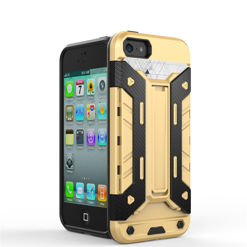 Hybrid Armor Case Hard Ultra thin Capa Thick Cover For fundas iphone5 5S 5c 5SE Cases Cover Stand With card holder