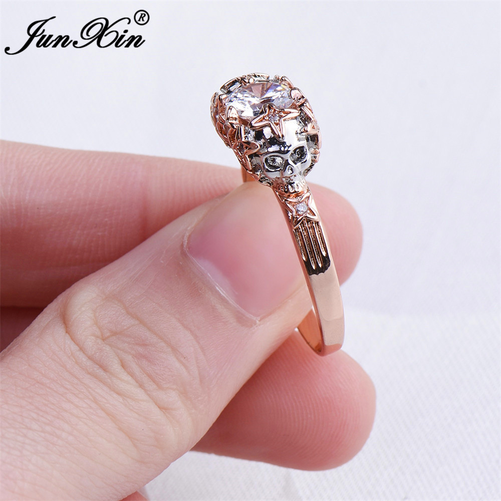 Junxin Punk Male Female Skull Finger Ring Rose Gold Color -4738