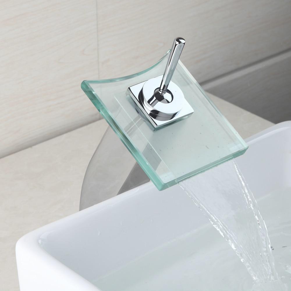 RU Glass Waterfall Faucet Deck Mounted Single Handle Faucet Tap ...