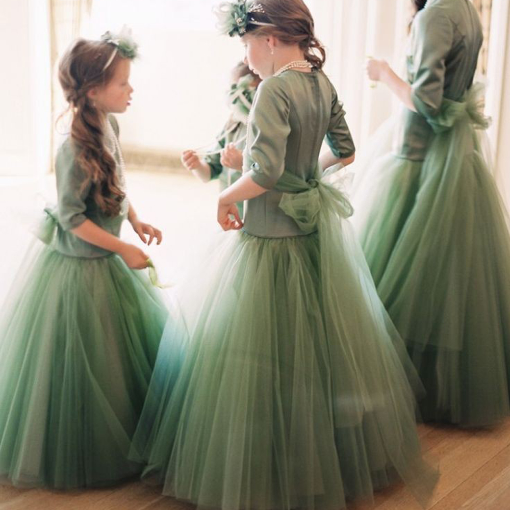 купить A Line Solid Green White Blue Champagne Party Princess O-Neck Voile and Mesh Flower Girl Dress vestidos Ankle-Length party 2016 по цене 4841.42 рублей