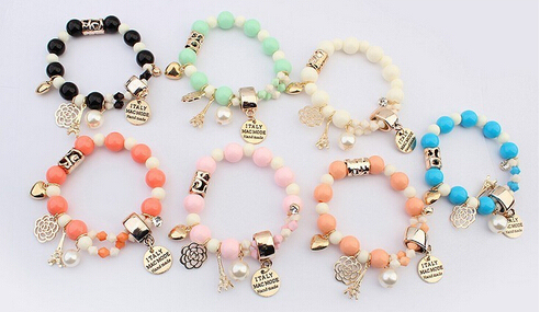 Crystal simulated Pearl Beads Hearts Elastic Force Bracelet