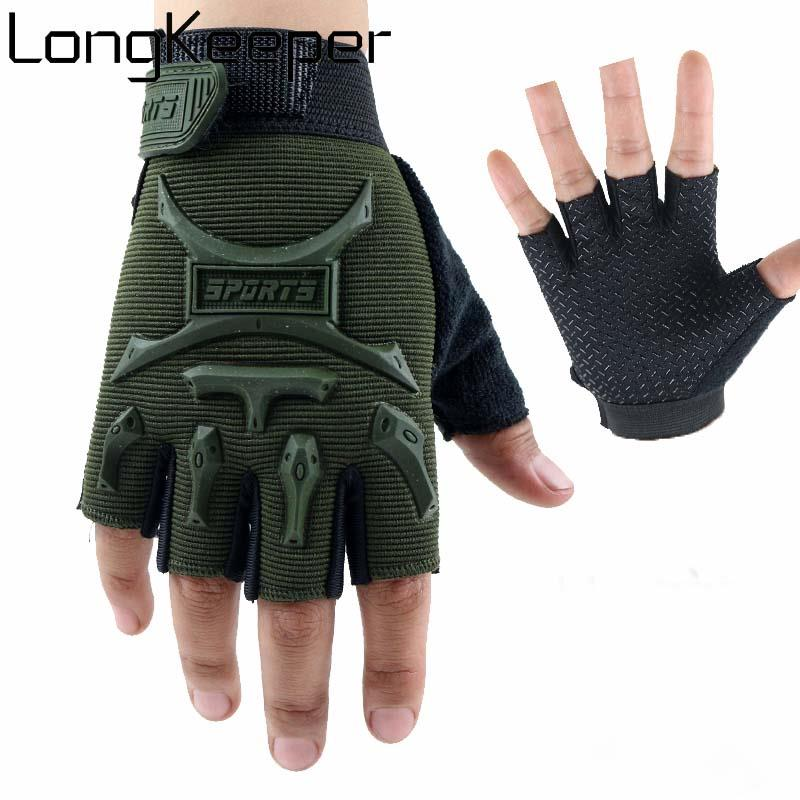 Children Half Finger Gloves For 4-10 Years Girls&Boys Cycling Outdoor Sports Non Slip Breathable Mittens Kid ArmyGreen Luvas(China)