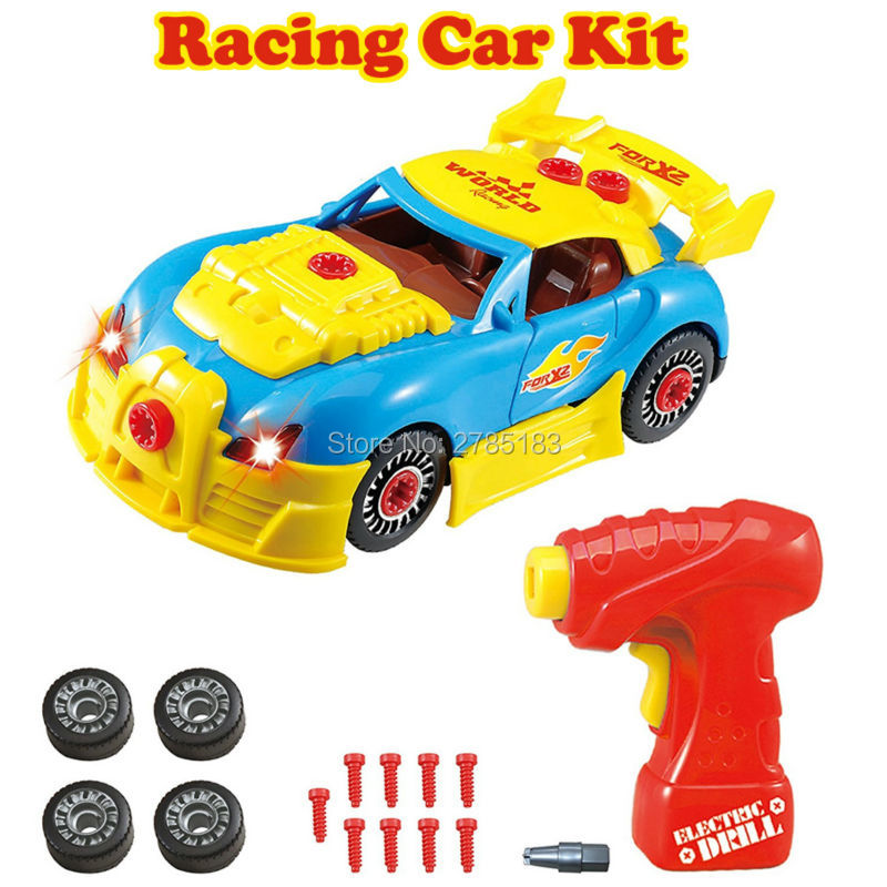 Take Apart Toy Racing Car Kit For Kids- Build Your Own Car Kit Construction Set 30PCS Take-A-Part With Realistic Sounds & Lights