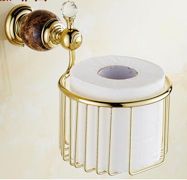 Wall Mounted gold & jade Bathroom Toilet Paper Holder bathroom toilet paper roll holder Tissue box free shipping jade & brass golden paper box roll holder toilet gold paper holder tissue box bathroom accessories