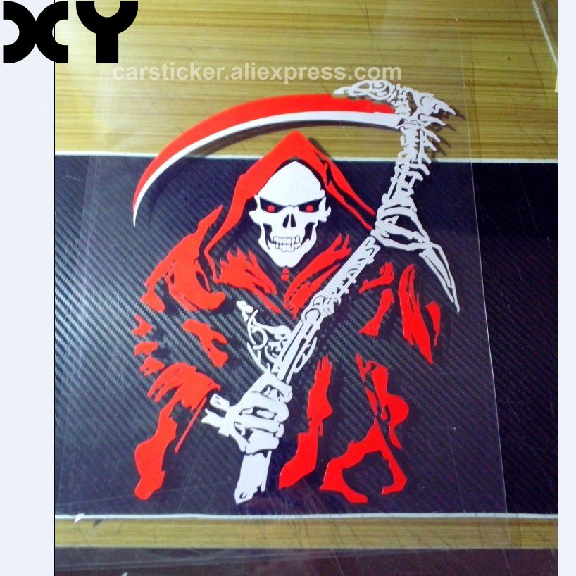 High Quality Funny Vinyl Devil Dead Scythe Car Stickers and Decals for Rear Windshield Drop Shipping