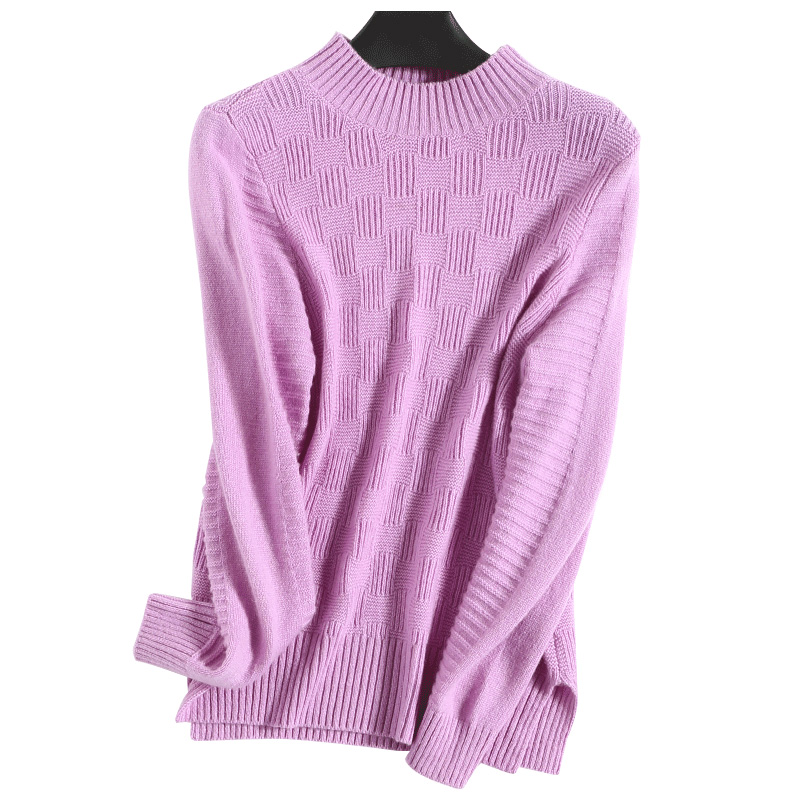 Cashmere Wool Knitted Sweaters Woman Winter Pullovers Cable Knit Plaid Knitwear Tops Ladies Jumpers Clothing Pink Turtleneck