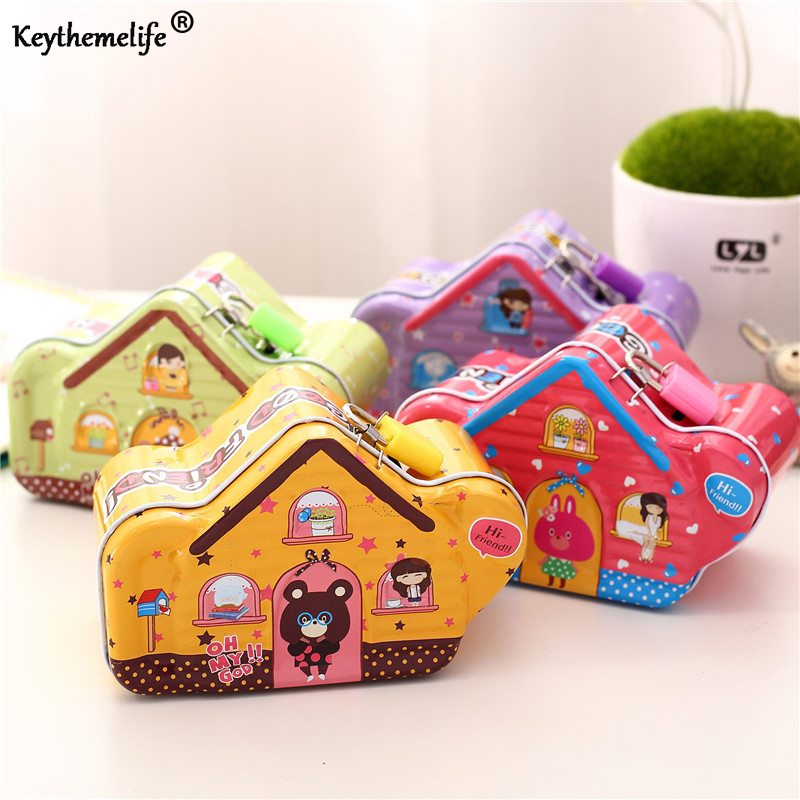 Keythemelife Cartoon Moneybox House Shape Money Saving Box