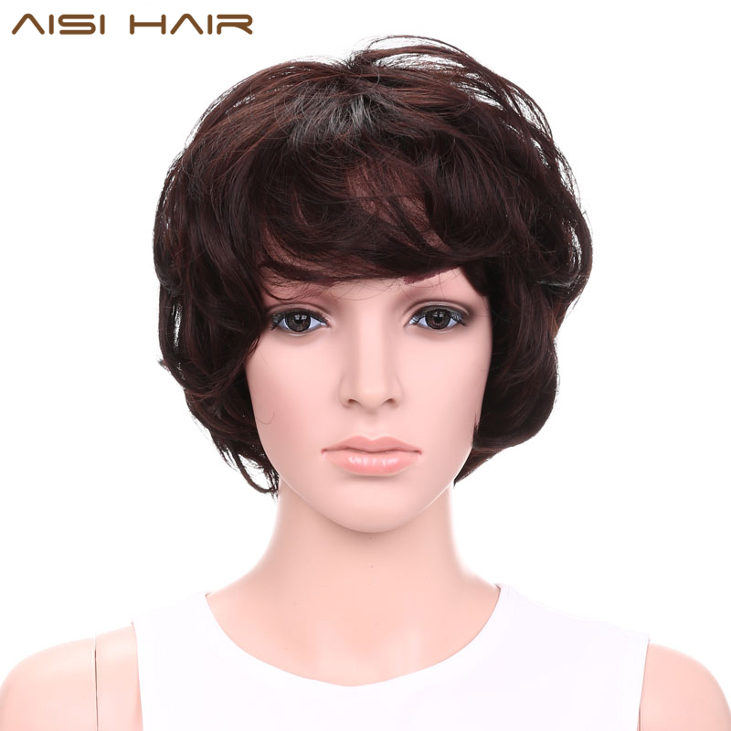 AISI HAIR Short Wigs for Black Women Synthetic Dark Brown Wavy Hair