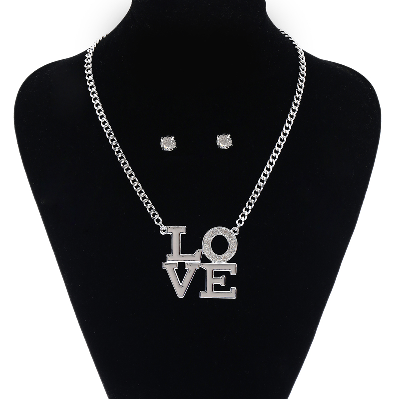 Fashion Necklace earring sets Mother 39 s Day Gift Silver Love Necklace jewelry Choker Chain Gold Cystal High quality necklace in Chain Necklaces from Jewelry amp Accessories