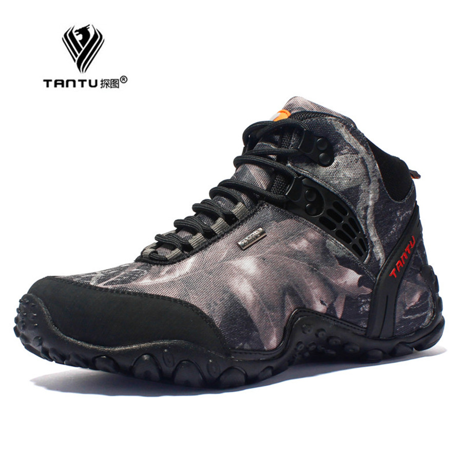 TANTU new waterproof canvas hiking shoes boots Anti skid Wear resistant breathable fishing shoes climbing high