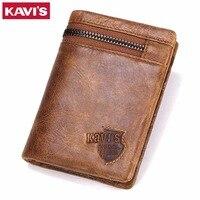 KAVIS Crazy Horse Genuine Leather Wallet Men Coin Purse Card Holder Male Money Bag Portomonee Small