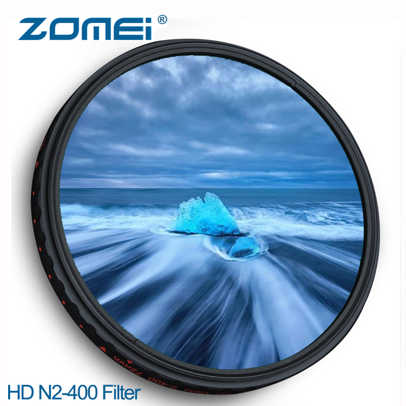ZOMEI Ultra HD Neutral Density Filter Variable Fader Adjustable ND2 to ND400 Clear Camera Lens ND Filtro 52/58/67/72/77/82mm цена