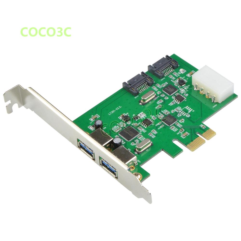 Prix pour Interne 2 Ports SATA 6 Gbps + 2 USB 3.0 PCI Express contrôleur combo carte pcie à double usb3.0 sata 3.0 port multiplicateur