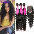 Brazilian Deep Wave With Closure Deep Curly Weave Hair With Closure Brazilian Virgin Hair Human Hair 3 Bundles With Lace Closure