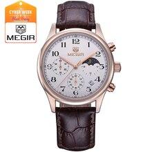 Megir 5007 моды кожа кварцевые часы человек роскошные водонепроницаемый световой спортивные наручные часы мужчины relogio masculino