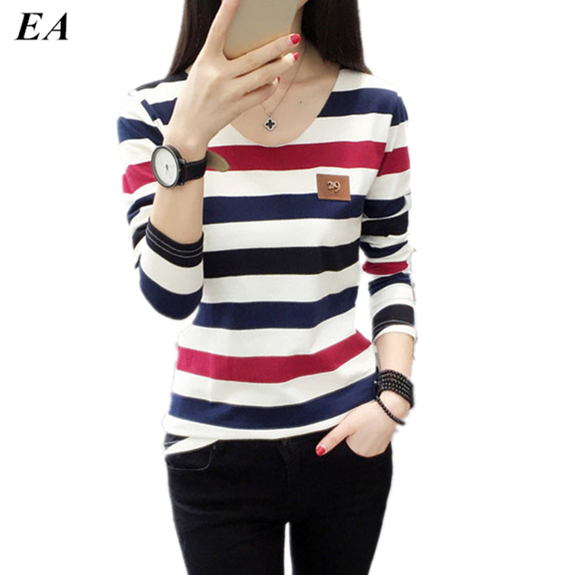 Women t shirt womens tops Tee shirt femme winter long sleeve tshirt  Fashion 2016 poleras de mujer stripe t-shirt camisetas TS01
