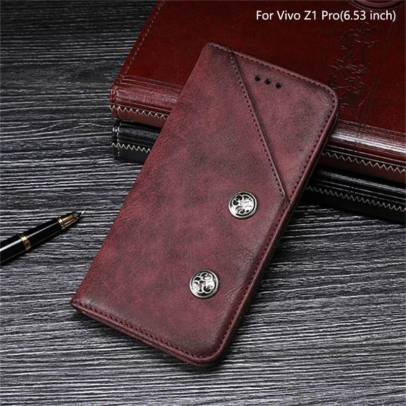 Retro Leather Case For Vivo Z1 Pro Z1Pro Case Luxury Magnetic Card Holder Wallet Cover Case For Vivo Z1 Pro Vintage Leather Case
