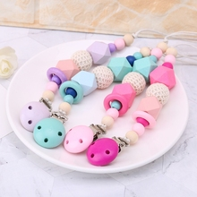 NEW Baby Pacifier Chain Clip Holder Silicone Beads Wood Soot