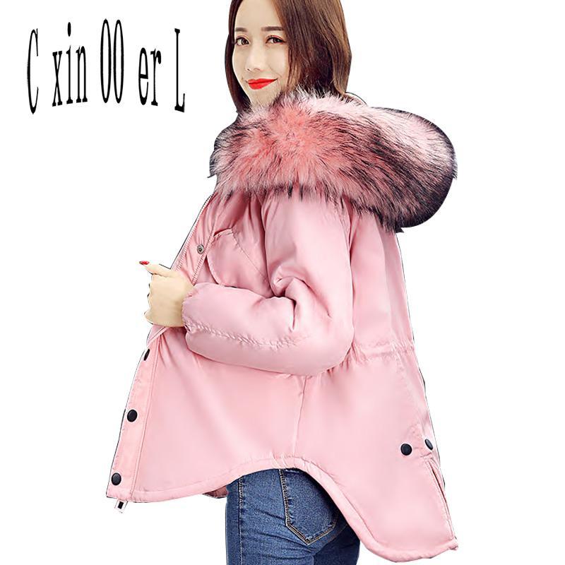 2017 Fashion Slim Hooded Fur Collar Temperament font b Women b font Parka Coat Thickened Tide