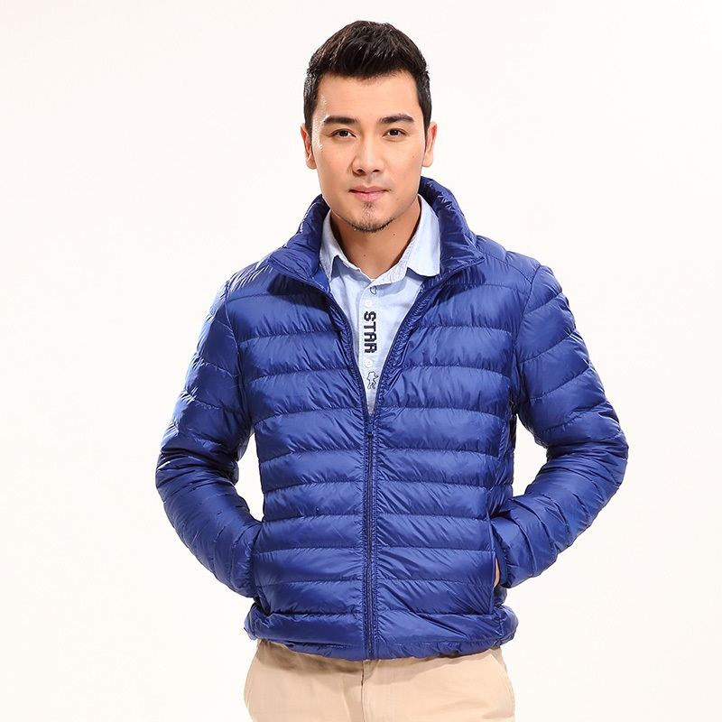 Solid Color Winter Men 90% Down Jacket Pocketable Fashion Duck Down Coat Ultra Lightweight Jacket sha039
