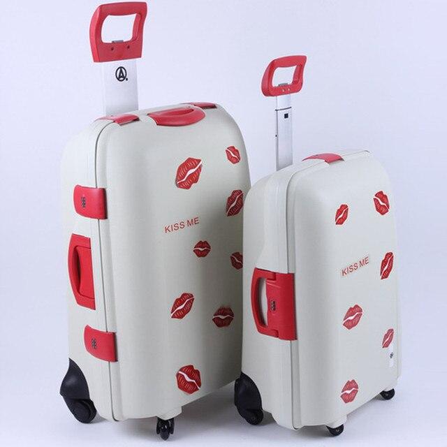 ZIRANYU женщины дорожного чемодана, белый Красные губы ABS + PC троллейбус случае новый стиль, мужчины дорожные сумки багажа мешок, блокировка, отключение звука, 22 26