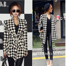 TFGS 2017 Fashion Spring Autumn Jacket Women Long Sleeve Houndstooth Print Top C
