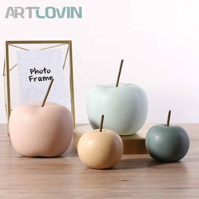 Modern Style Home Decor Ceramic Apple Figurines Creative Arts & Crafts Home Decoration Accessories Sweet Ornaments For Wedding