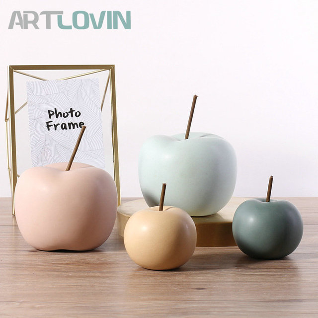 Modern Style Home Decor Ceramic Apple Figurines Creative Arts