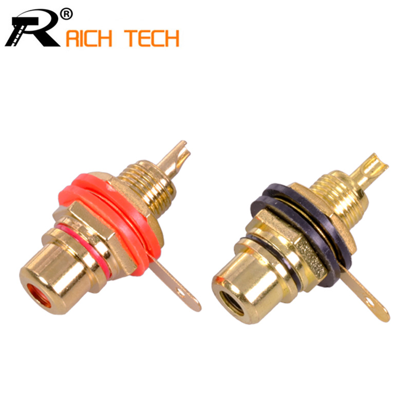 R 1pair Gold Plated RCA Jack Connector Panel Mount Chassis Audio Socket Plug 2pcs